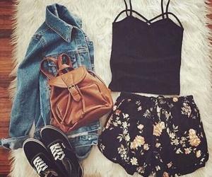 vans, shorts+con+flores, and mezclilla+ image