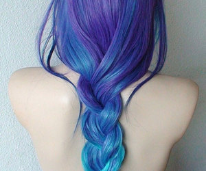 blue hair, purple hair, and colored hair image