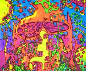 mushroom, trippy, and psychedelic image