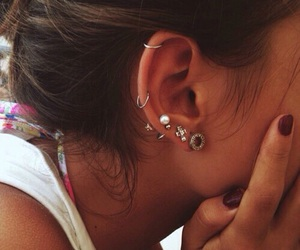 ear, girly, and ear piercings image