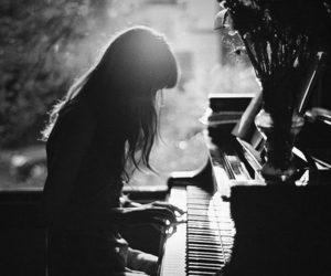 piano, girl, and music image