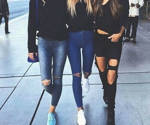 fashion, friends, and jeans image
