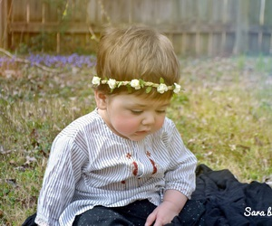 baby, baby boy, and flowers image