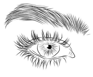 drawing, eye, and outline image