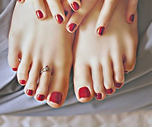 manicure, pedicure, and red nails image