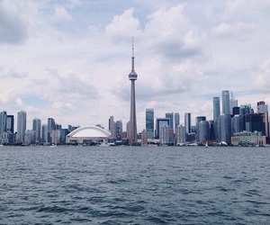 CN tower, skyline, and toronto image