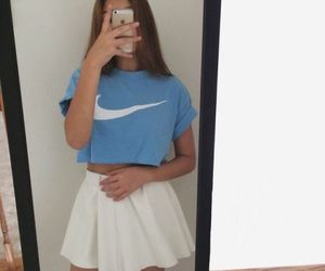 nike, girl, and blue image