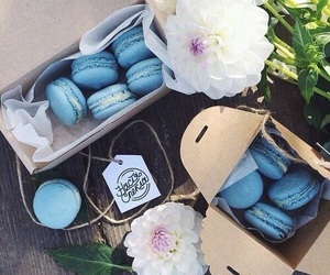 food, blue, and flowers image