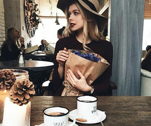 girl, flowers, and coffee image