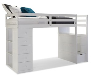 bed, white, and loft image
