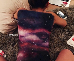 art, galaxy, and paint image