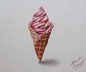 ice cream, drawing, and pink image