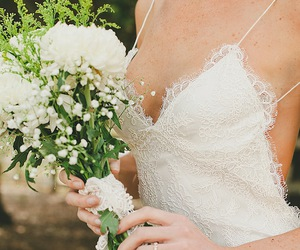 backless, bouquet, and bride image