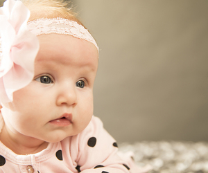 baby, bow, and spring image