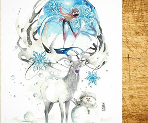 water paint, deer, and snow image