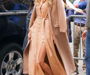 blonde, coat, and dress image