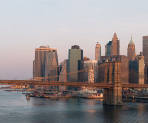 city, bridge, and new york image