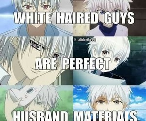 anime, guy, and white hair image