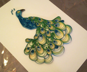 paper craft, peacock, and quilling image