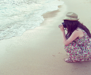 girl, beach, and camera image