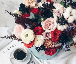 flowers, coffee, and rose image