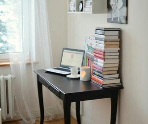 books, desk, and home decor image