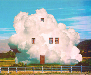 art, house, and clouds image