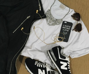 black and white, gold, and outfits image