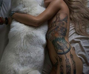 tattoo, girl, and dog image