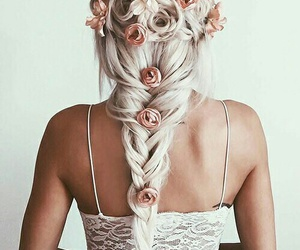 braid, hipster, and pink rose image