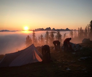 sunset, camping, and travel image