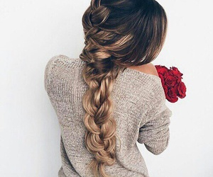 braids, brunette, and hair image