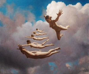 art, naked, and clouds image
