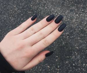 black nails, matte, and nails image