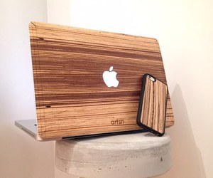 apple, macbook, and wood image