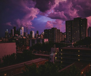 city, sky, and purple image