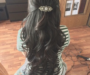 hair, half updo, and hairstyles image