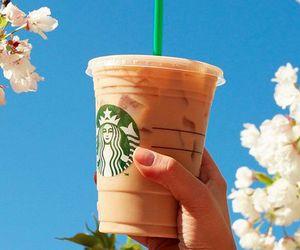 coffee, starbucks, and flowers image