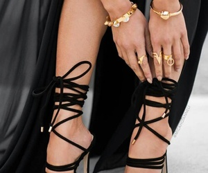 black dress, gold, and high heels image