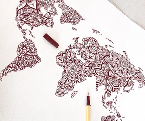 art, map, and tattoo image