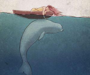 girl, sea, and art image