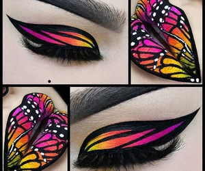 makeup, butterfly, and art image