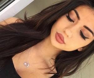 black dress, lipstick, and pretty image
