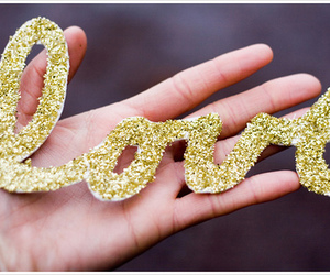 love, glitter, and gold image