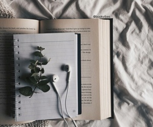 book, music, and flowers image