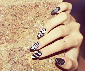 nails, adidas, and black and white image