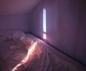 bed, light, and purple image