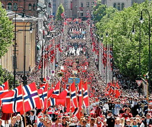 crowded, norwegian, and flag image