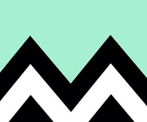 black and white, mint green, and zigzag image