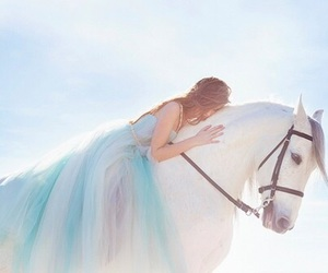horse, dress, and blue image